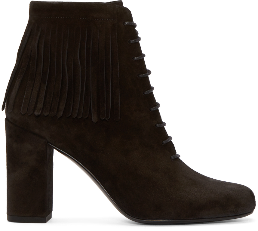 laurent black suede fringed babies boots in black lyst
