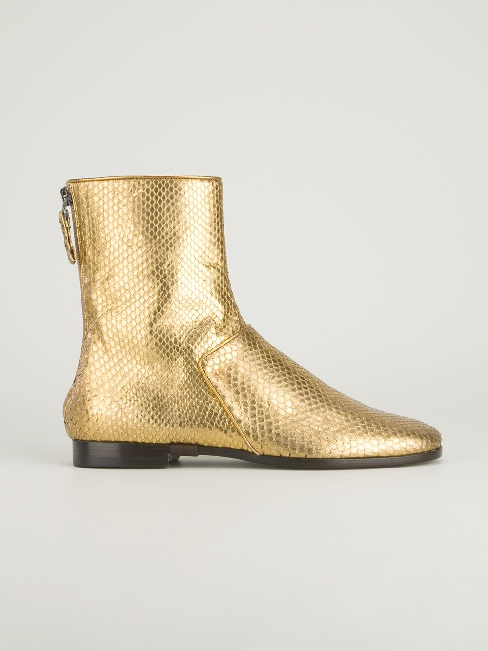 Metallic Leather Boots : Lyst carritz metallic leather ankle boots in