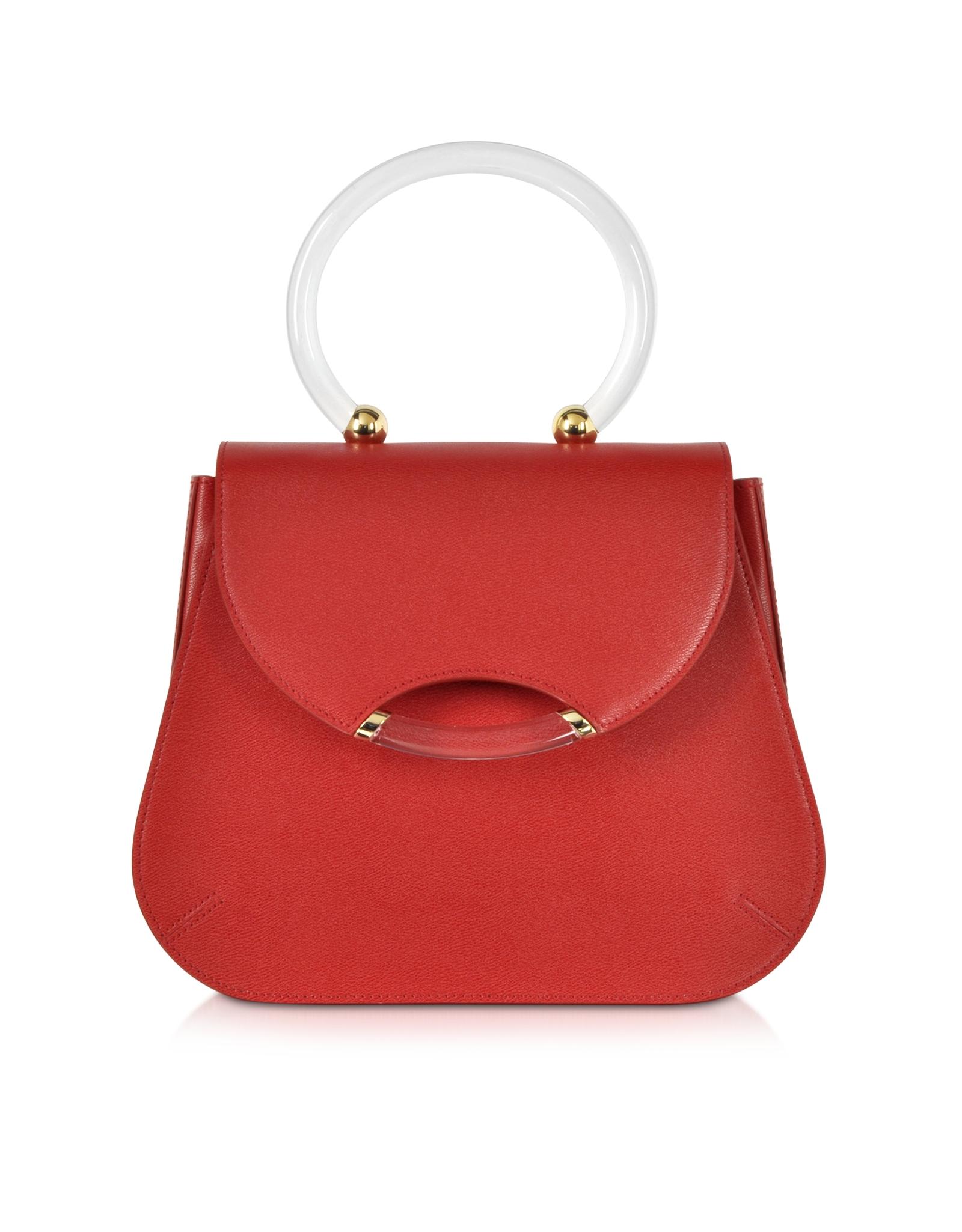 Lyst - Charlotte Olympia Newman Red Leather Satchel W transparent ... b28f3a78dd