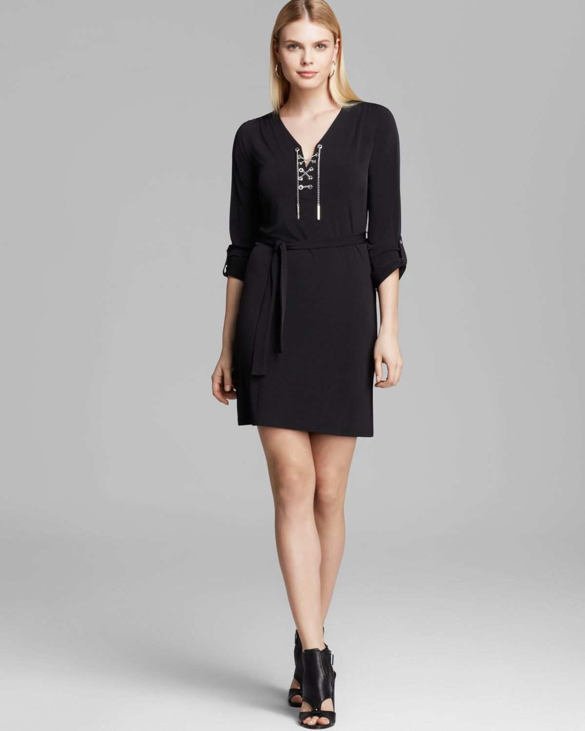 Lyst - Michael Michael Kors Chain Lace Up Dress in Black