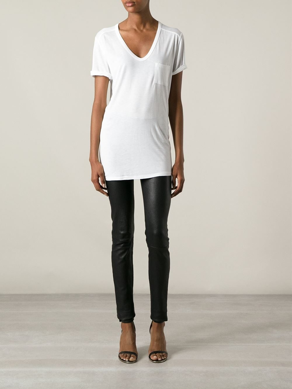 t by alexander wang chest pocket t shirt in white lyst. Black Bedroom Furniture Sets. Home Design Ideas