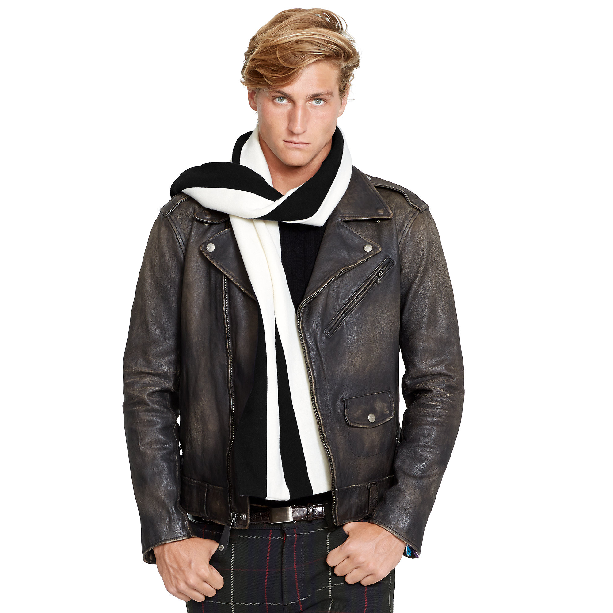 lyst polo ralph lauren leather full zip biker jacket in. Black Bedroom Furniture Sets. Home Design Ideas