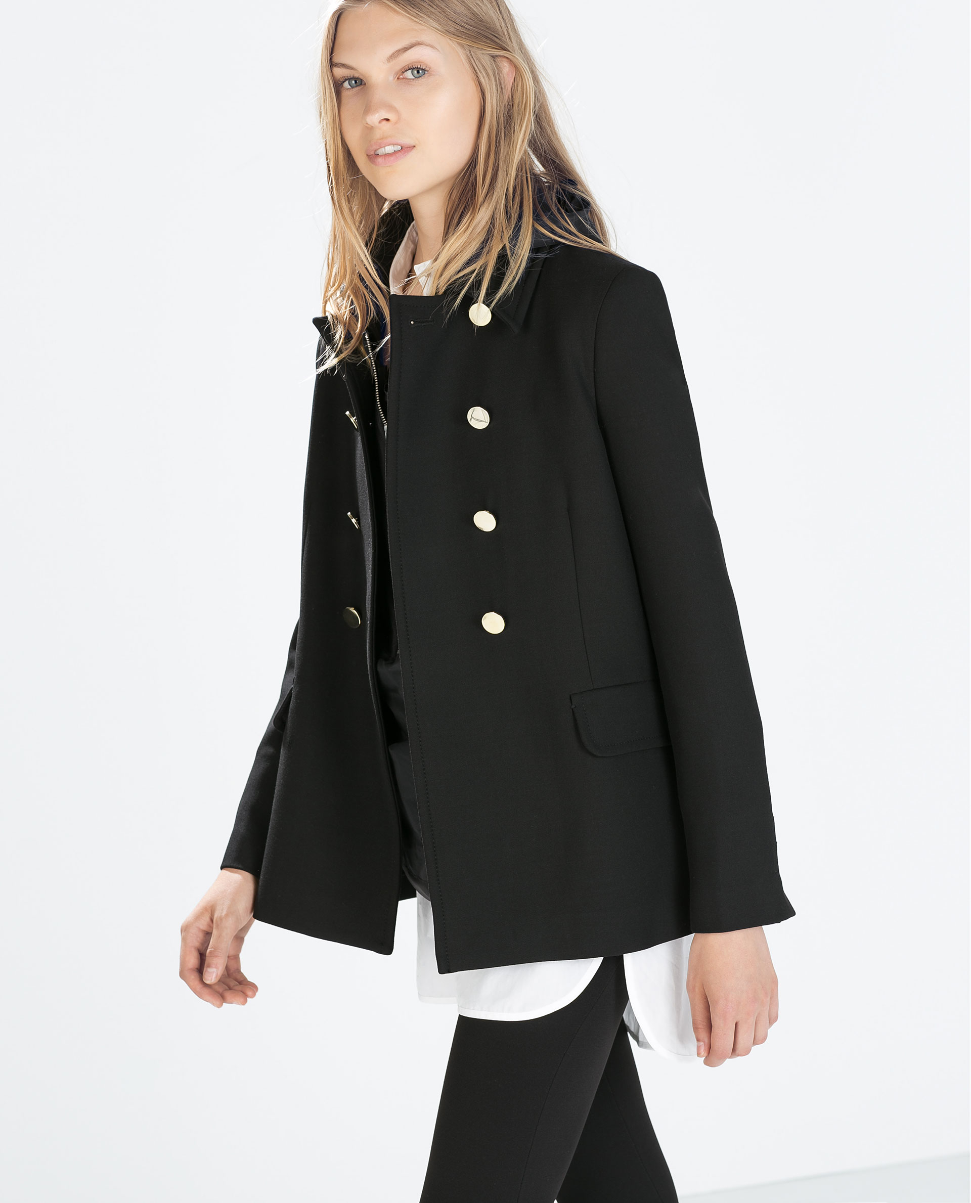 Zara Double-Breasted Short Coat in Black | Lyst