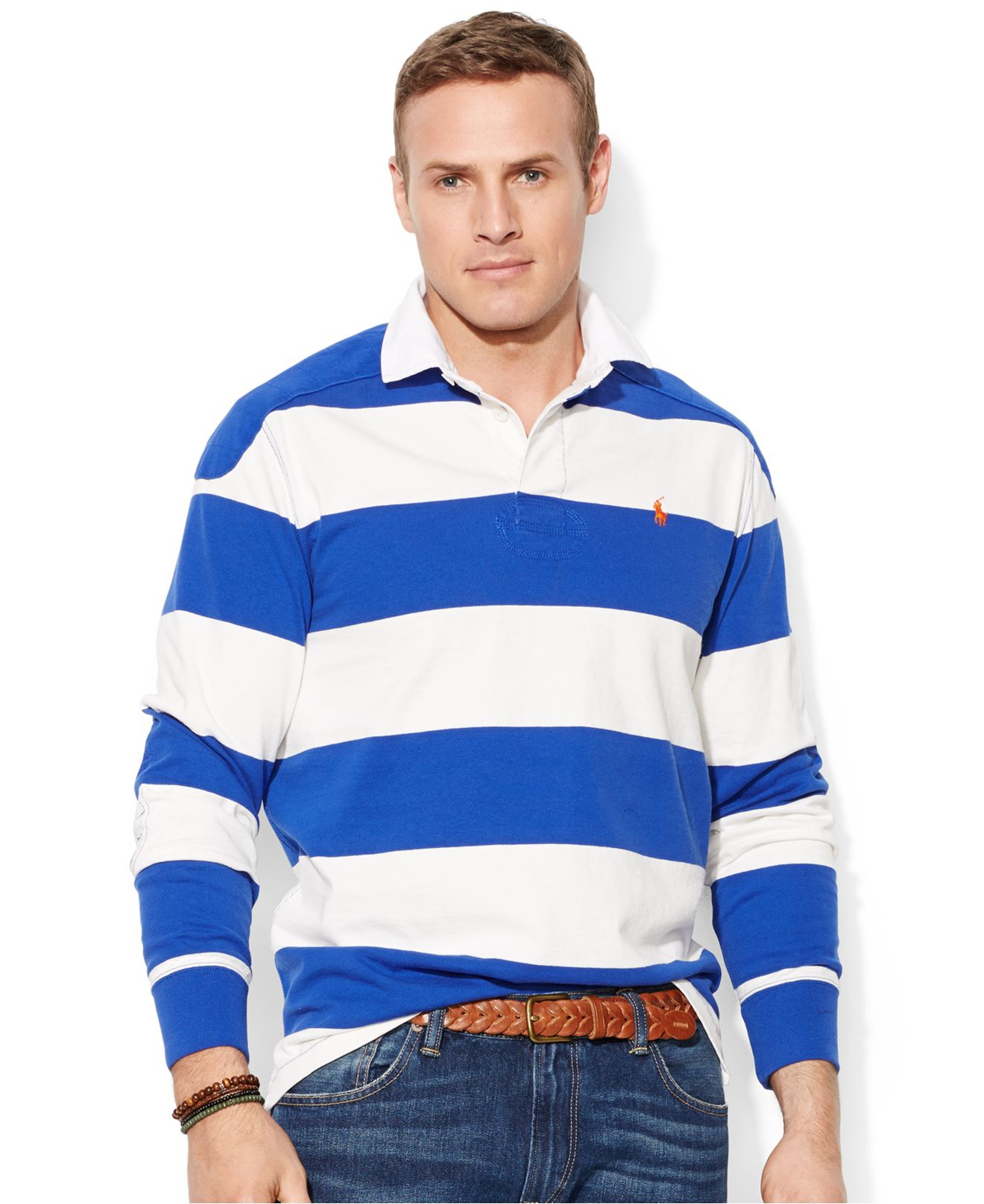 Polo ralph lauren big and tall long sleeve stripe rugby for Blue and white long sleeve shirt