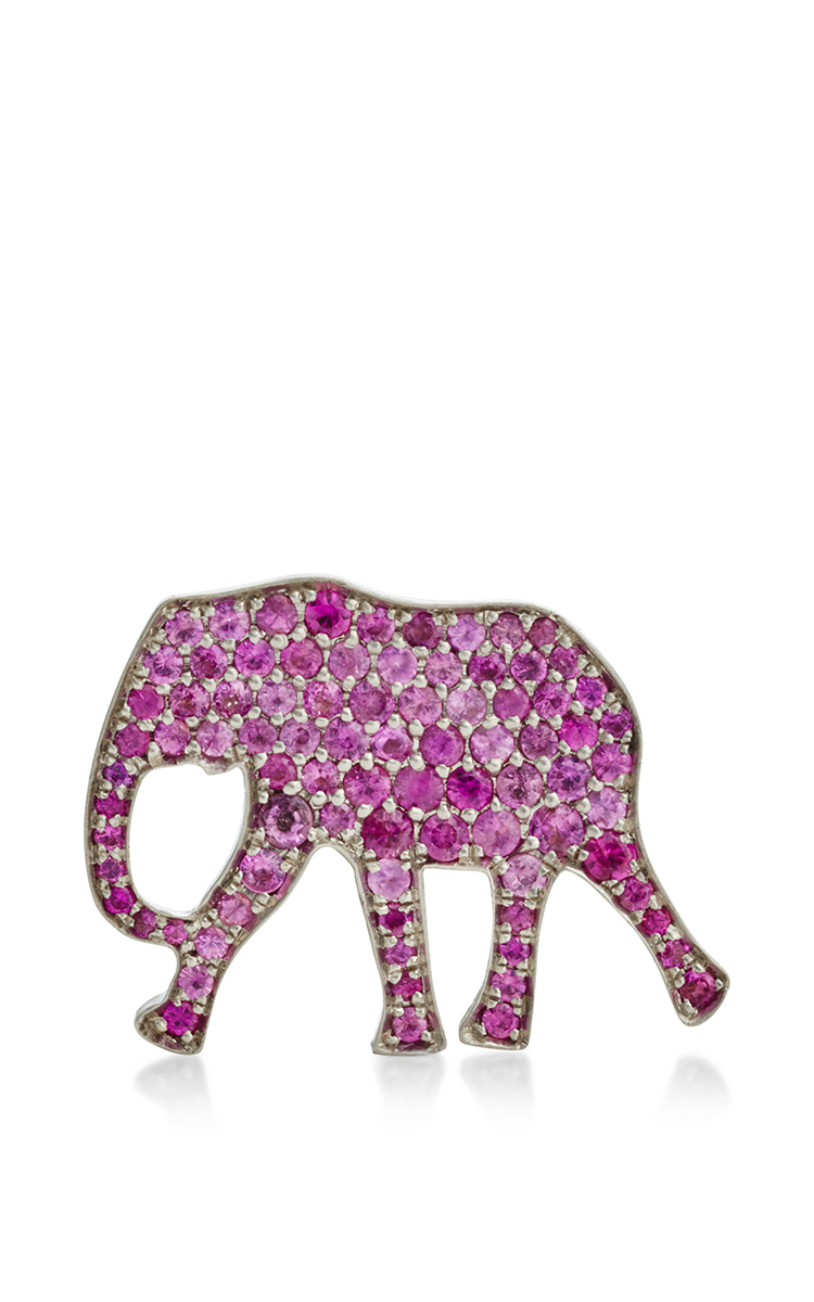 Lyst marc alary 18k white gold elephant pendant with pink sapphire gallery aloadofball Images