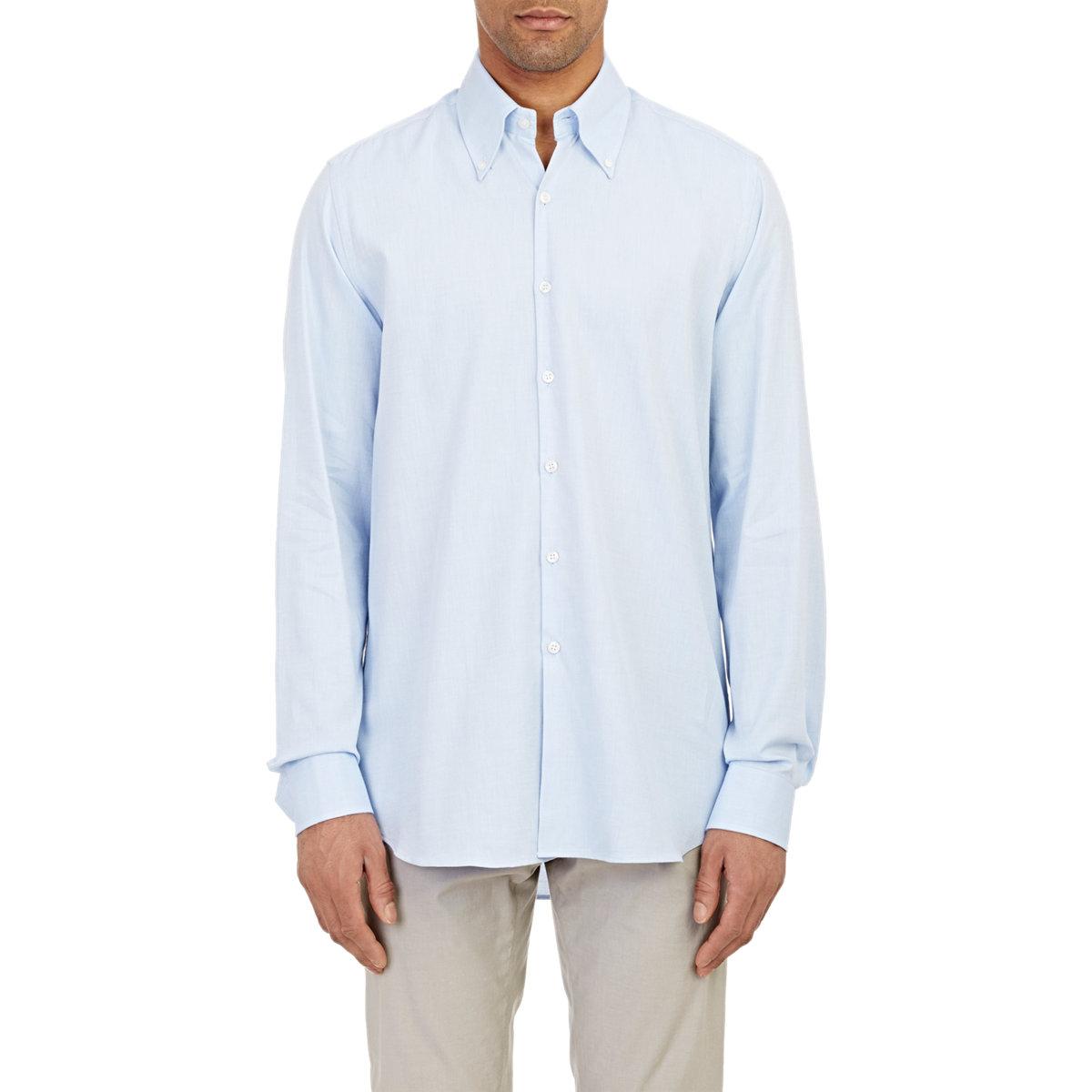 Lyst piattelli oxford shirt in blue for men for Mens blue oxford shirt