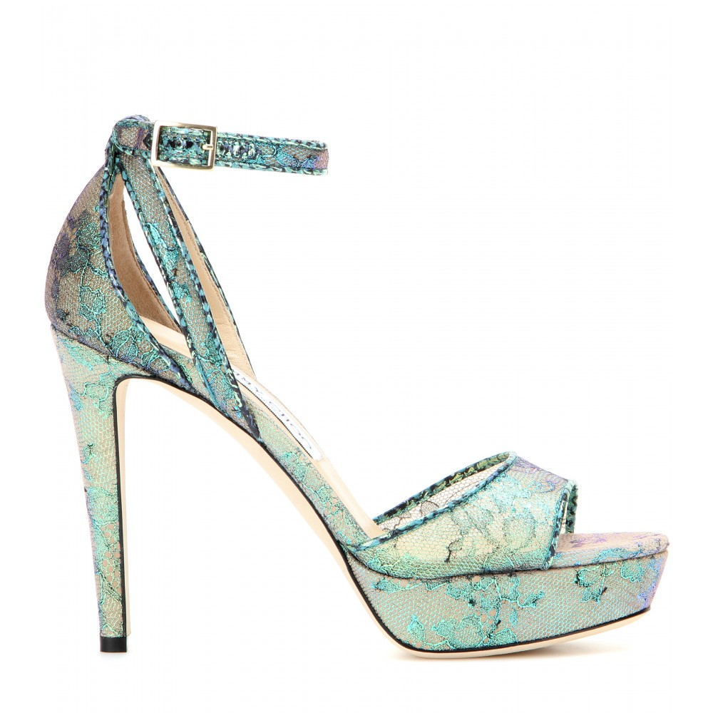 Lyst - Jimmy Choo Kayden Lace and Snakeskin Platform ...
