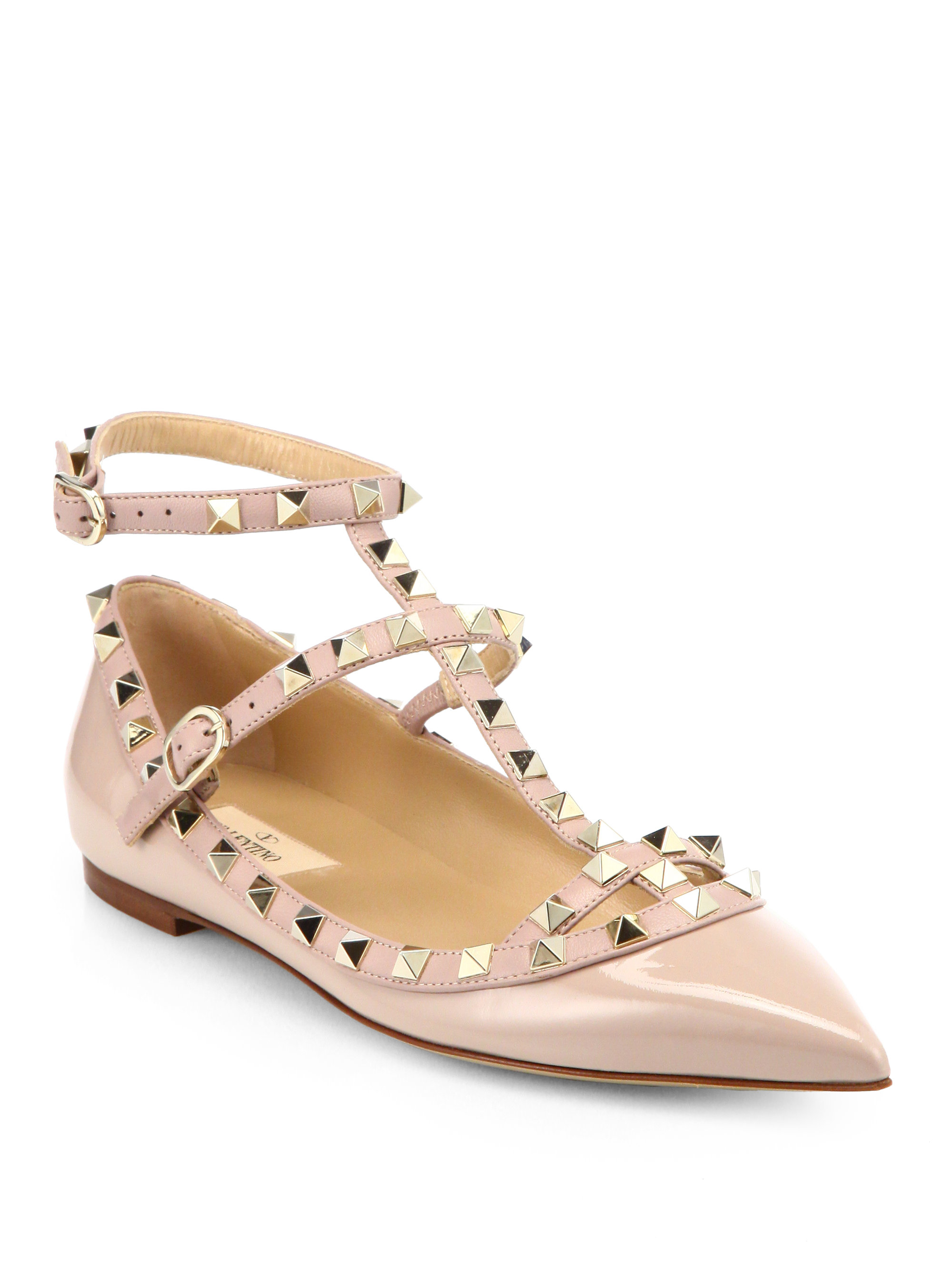 valentino rockstud patent leather cage flats in pink blush lyst. Black Bedroom Furniture Sets. Home Design Ideas