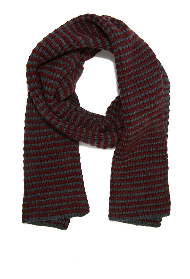 forever 21 striped knit scarf in purple for lyst