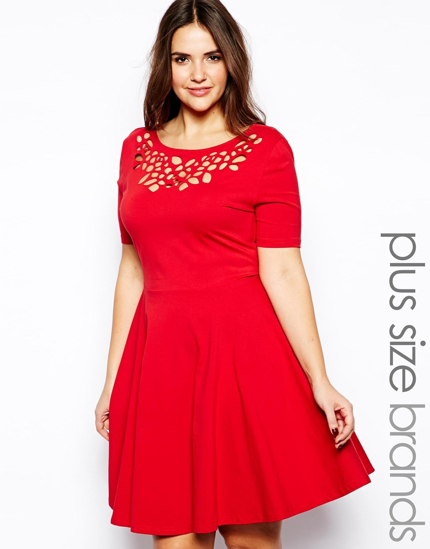 Ax paris Plus Size Laser Cut Skater Dress in Red
