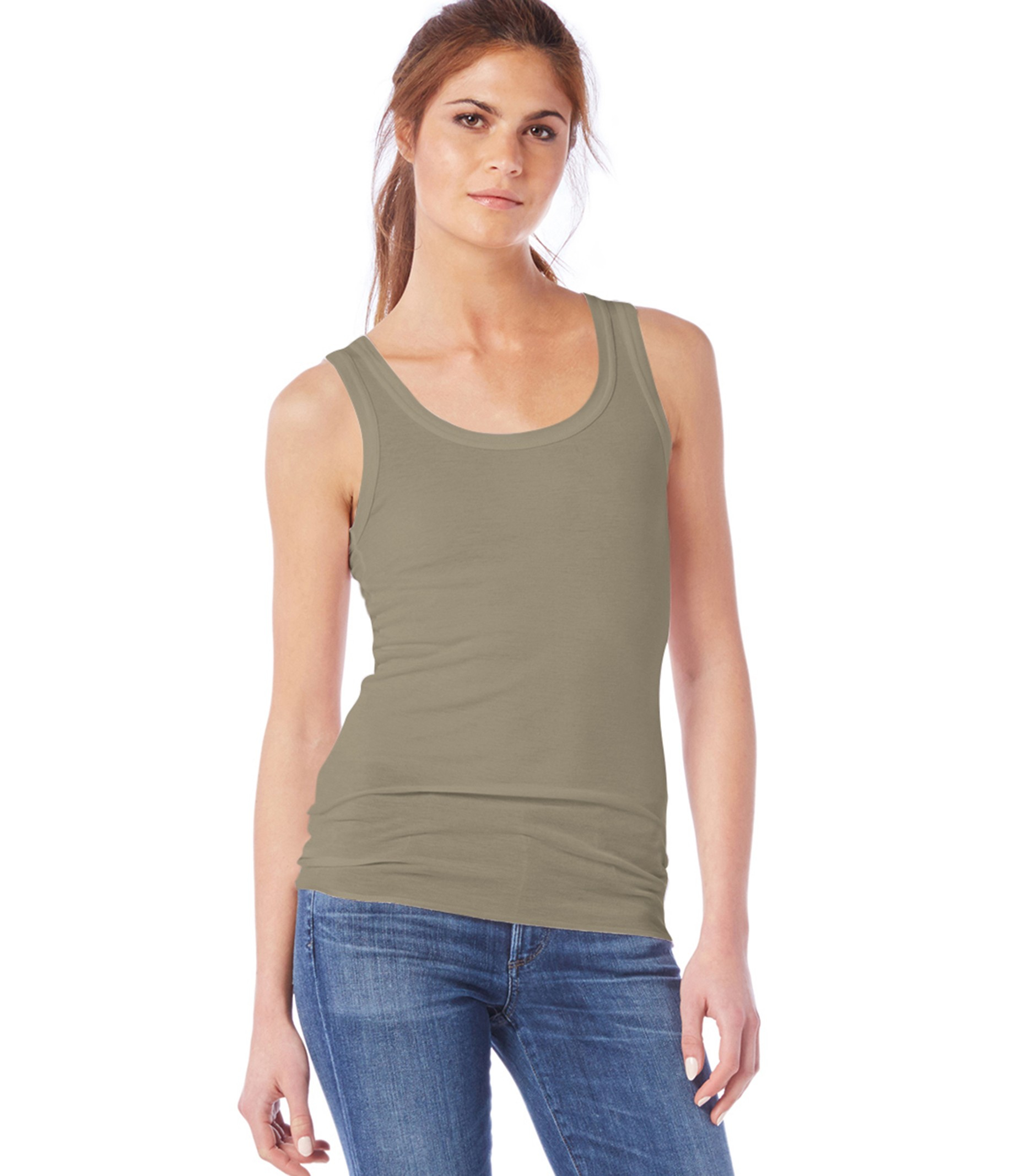 Michael stars supima modal long boyfriend tank in green lyst for Michael stars t shirts on sale