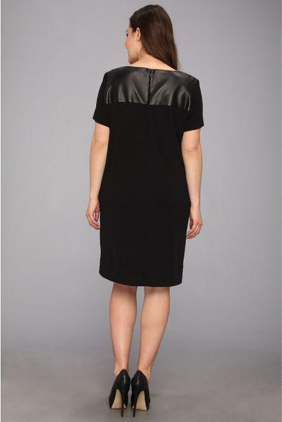 Dkny Plus Size Ss Drape Front Dress W Faux Leather Yoke In