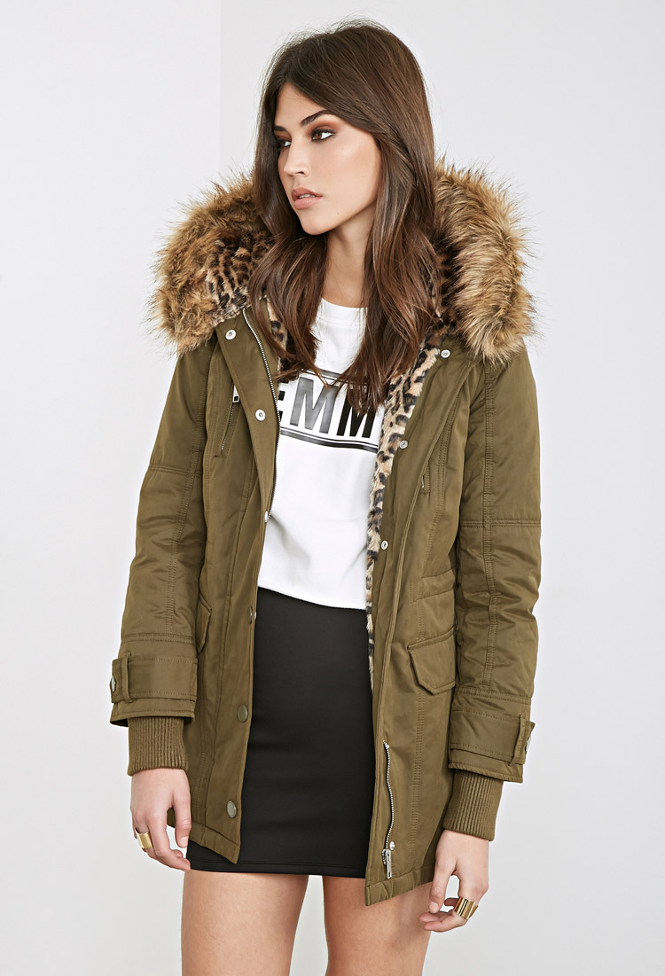 Forever 21 Faux Fur-lined Hooded Parka in Green | Lyst