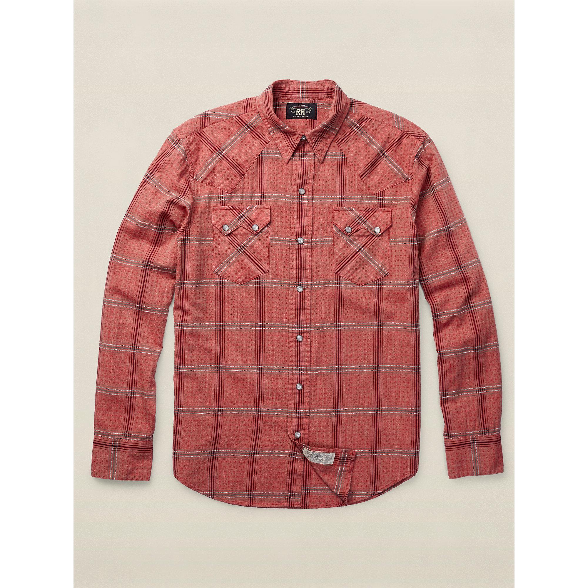 Lyst Rrl Dobby Western Shirt In Red For Men