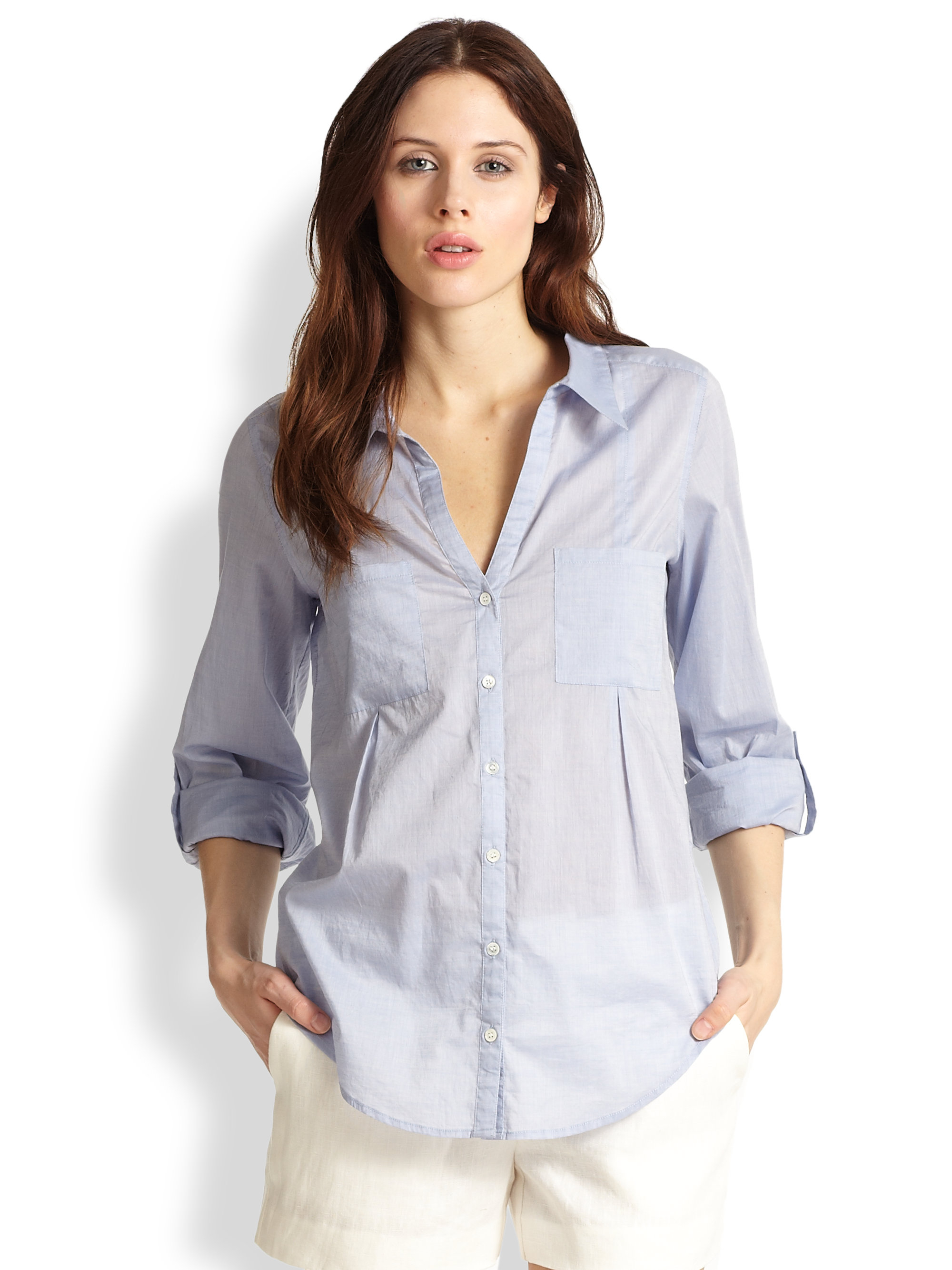Joie cartel chambray shirt in blue dusty chambray lyst for Blue chambray shirt women s