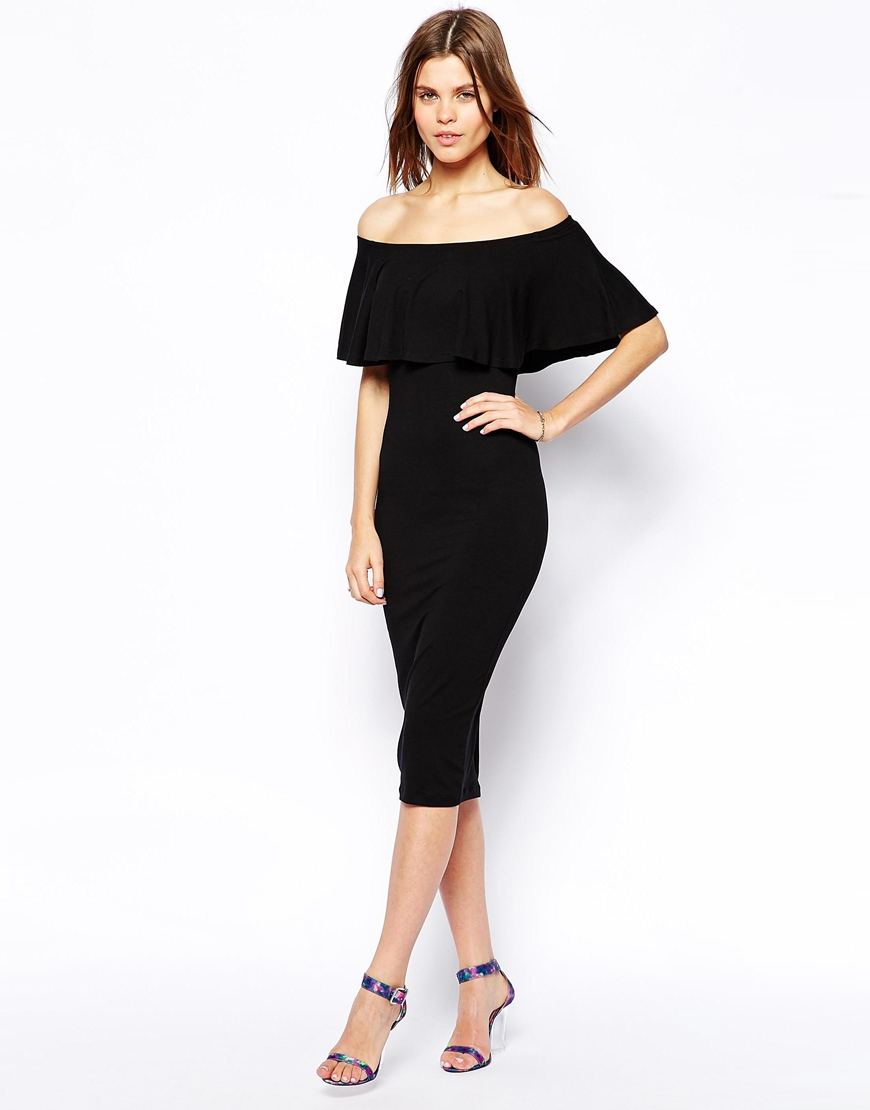 Asos Ruffle Top Bardot Midi Dress In Black Lyst