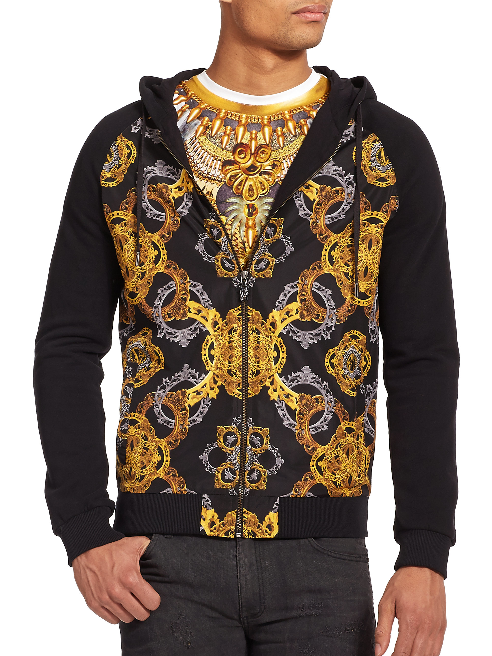 48a821bba Versace Jeans Baroque Print Hoodie in Black for Men - Lyst