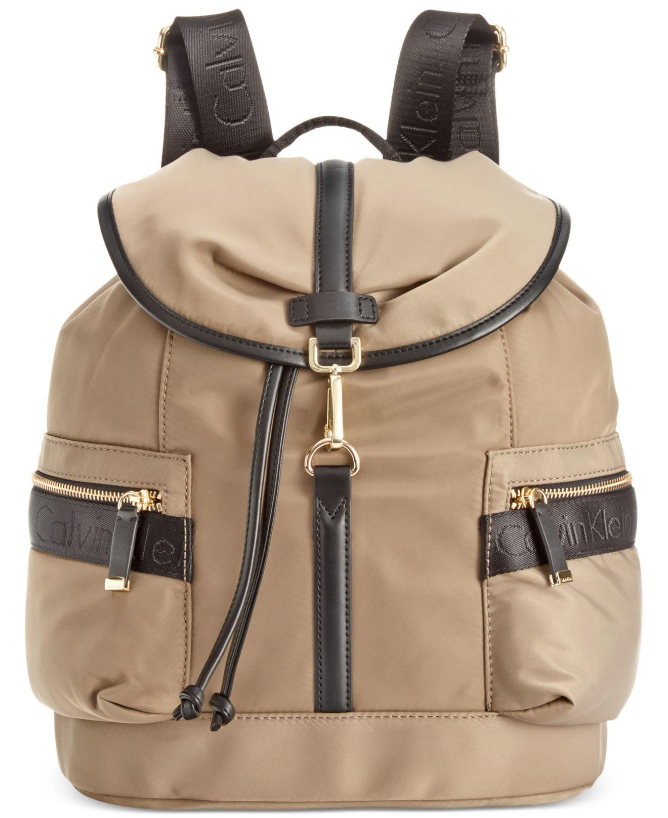calvin klein talia dressy nylon backpack in khaki light. Black Bedroom Furniture Sets. Home Design Ideas