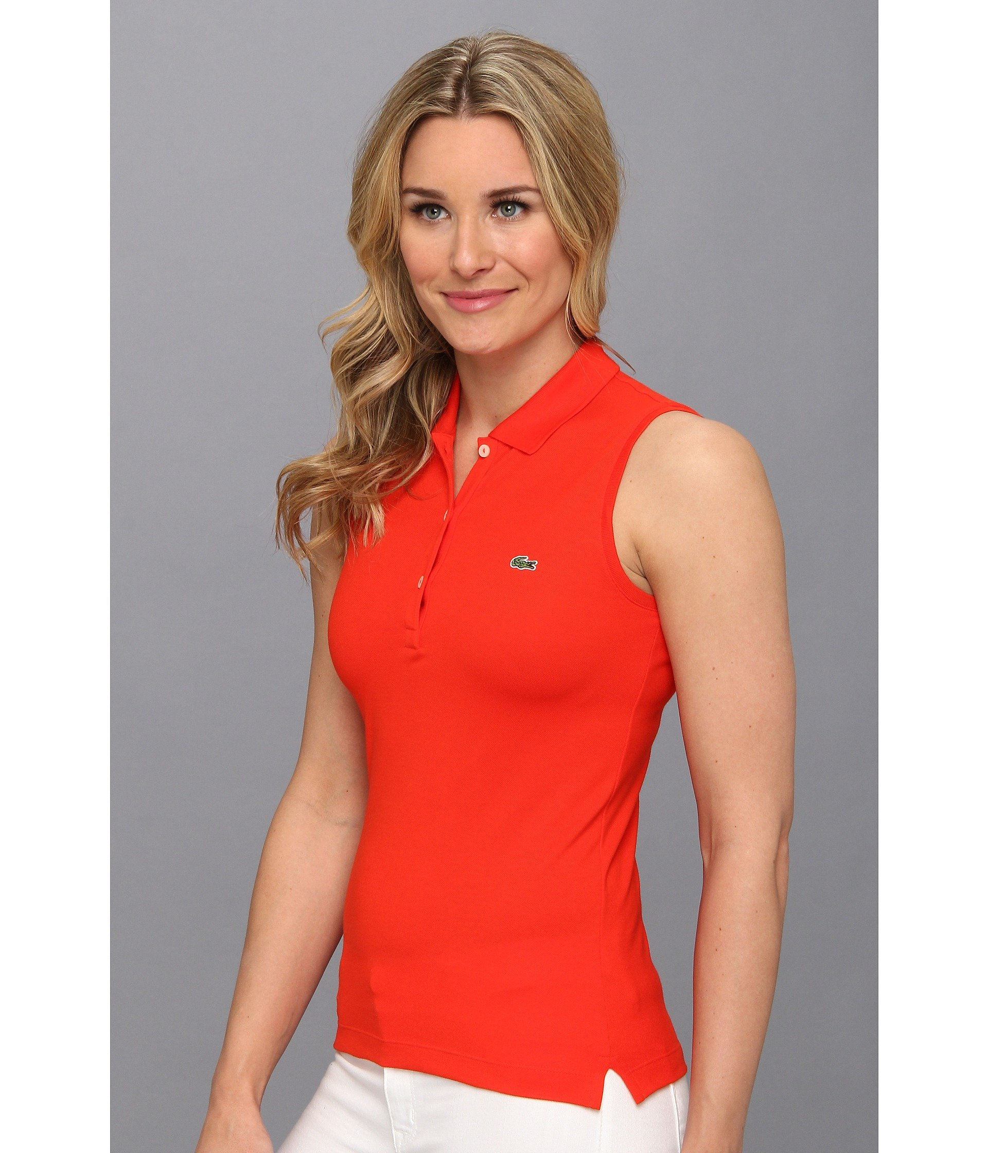 d3be781c43 Lacoste Sleeveless Stretch Pique Polo in Red - Lyst