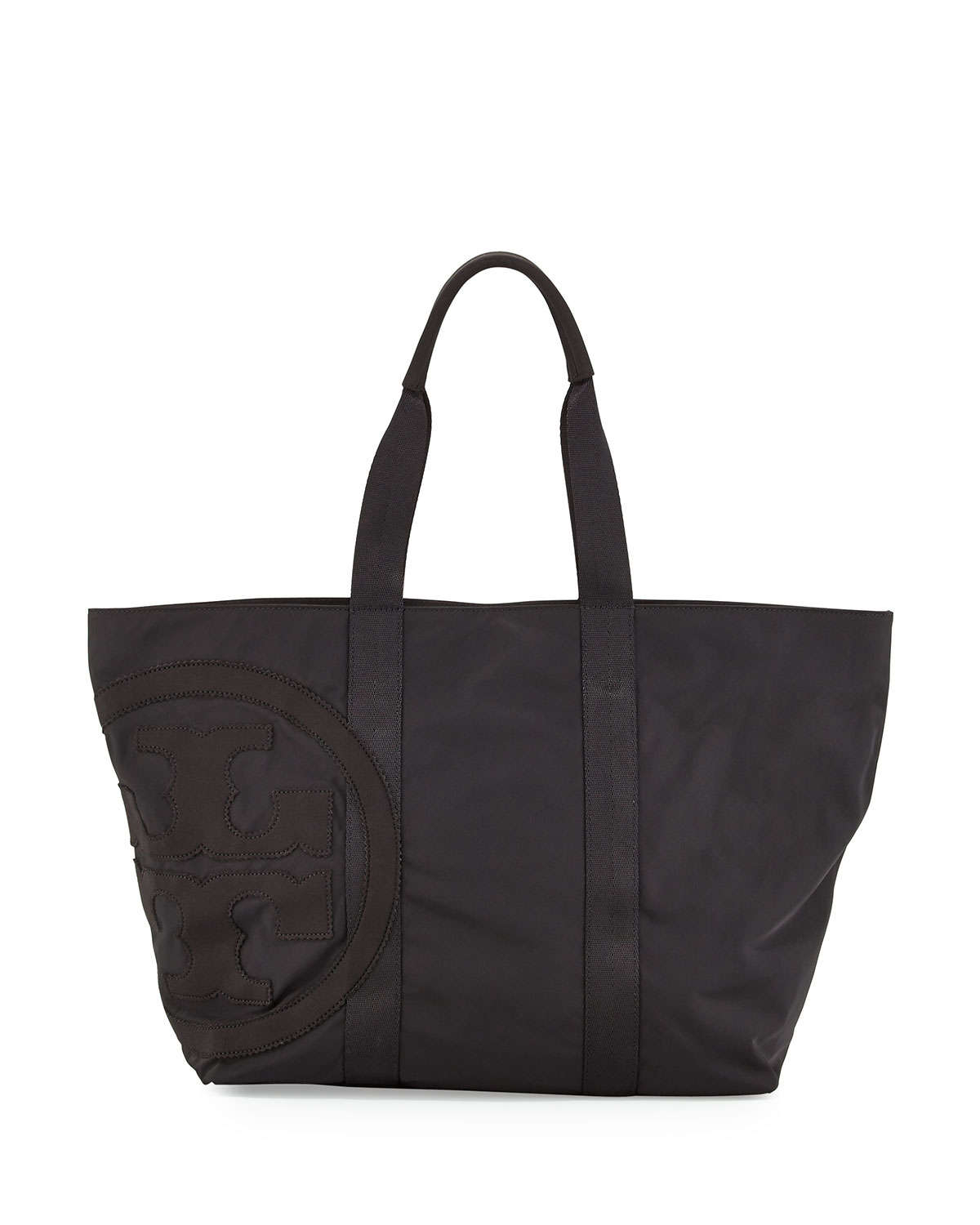 Tory burch Penn Nylon Mid-Zip Tote Bag in Black | Lyst