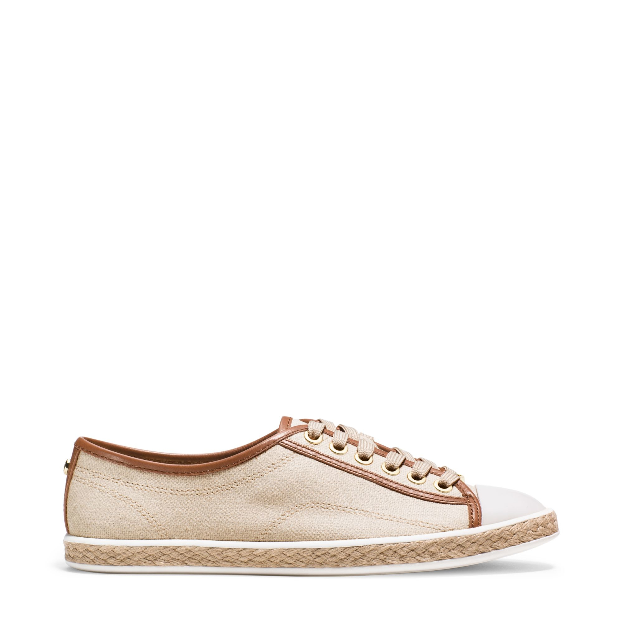 a87a3fcf83e3 Lyst - Michael Kors Kristy Canvas And Leather Sneaker in Natural