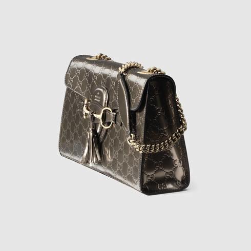 f43200d7b4f Lyst - Gucci Emily Guccissima Chain Shoulder Bag in Gray