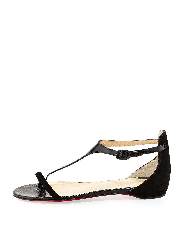 e0694a03faa ... ebay lyst christian louboutin athena patent suede flat sandal black in  b2fa4 c0a97