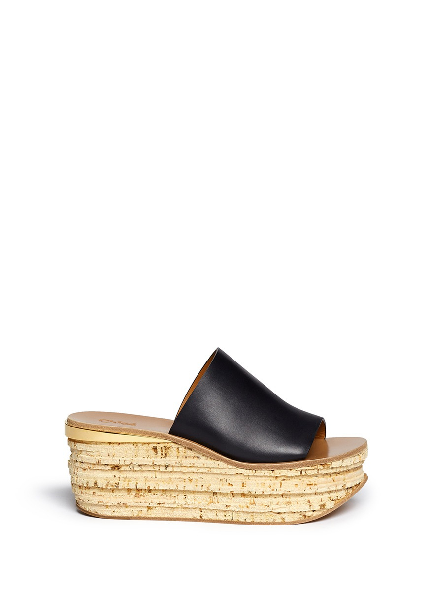 Lyst - Chloé Camille Leather Mules in Natural