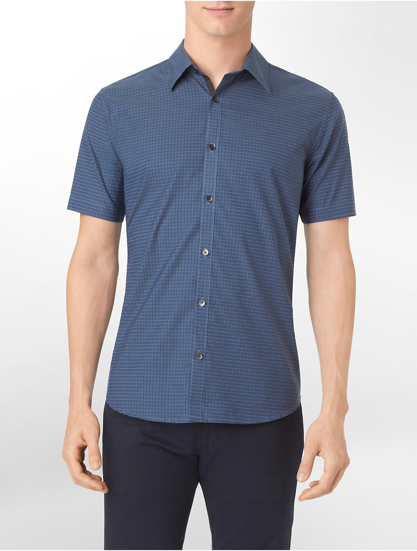 calvin klein slim fit medium check short sleeve shirt in
