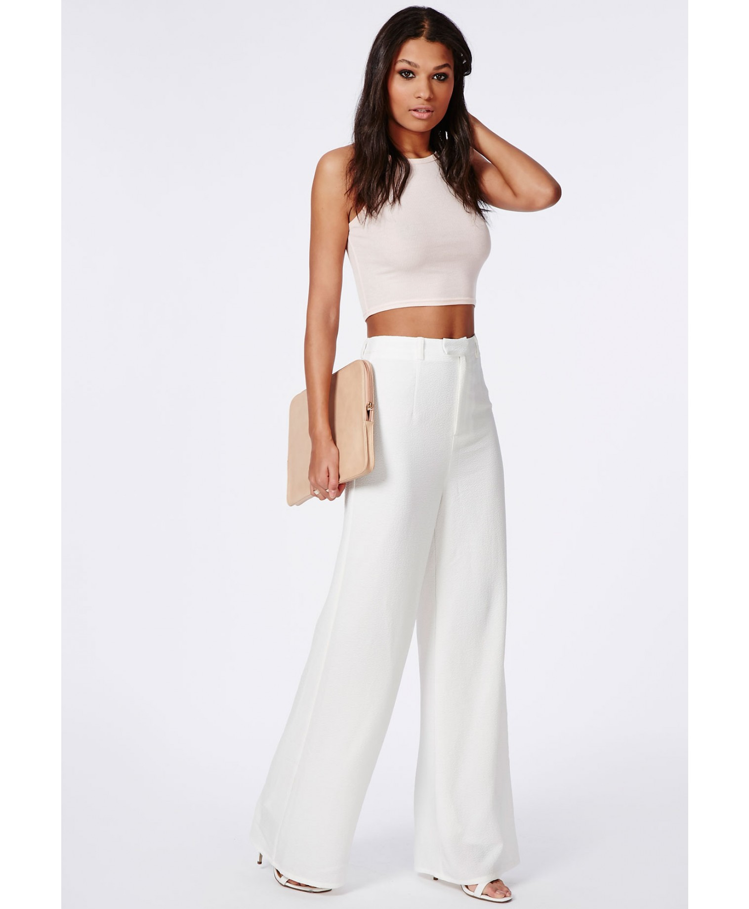 Missguided Tall Premium Crepe Wide Leg Pants White in White | Lyst