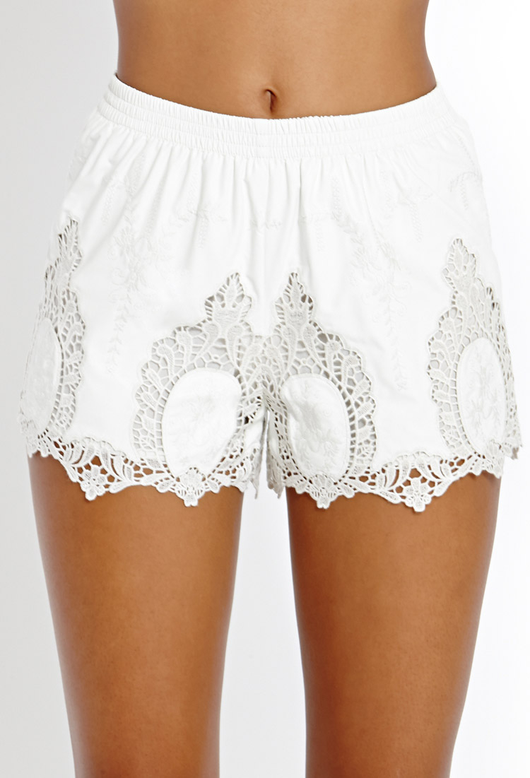 Forever 21 Embroidered Faux Leather Shorts in White | Lyst