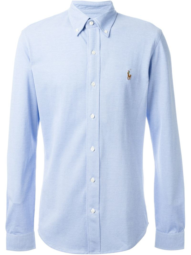 Polo ralph lauren button down shirt in blue for men lyst for Mens button down shirts