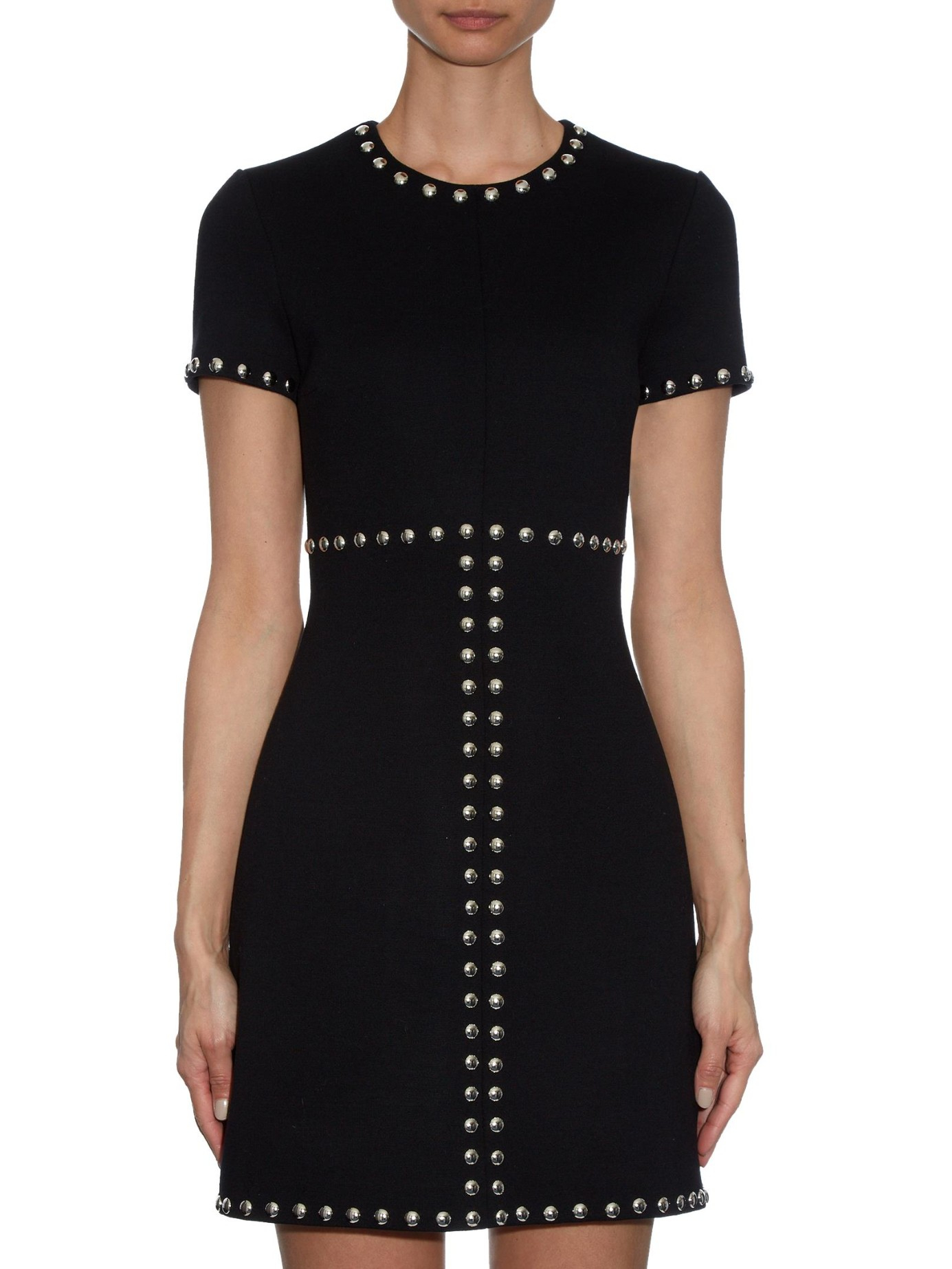 Saint Laurent Stud Embellished Wool Mini Dress In Black Lyst