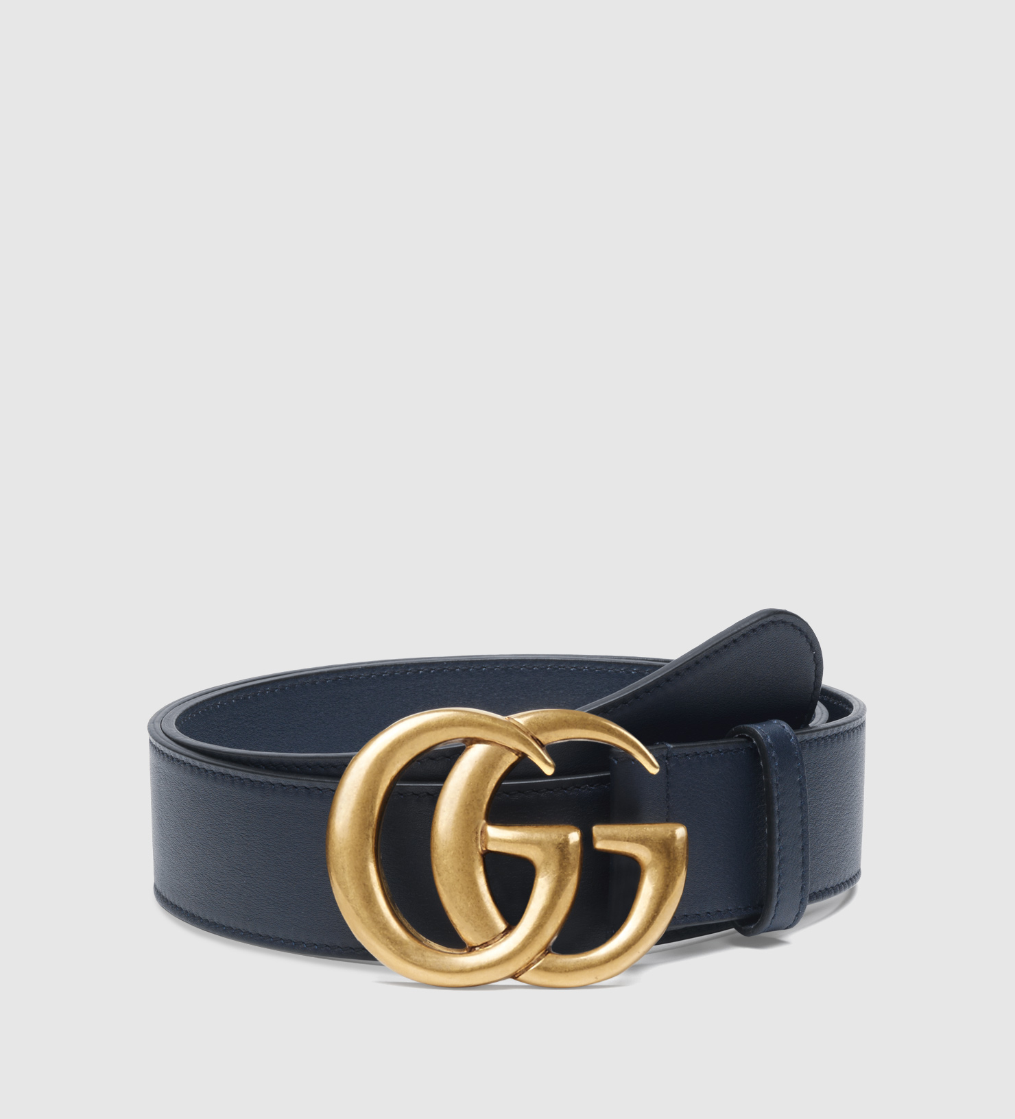 gucci leather belt with g buckle in blue for lyst