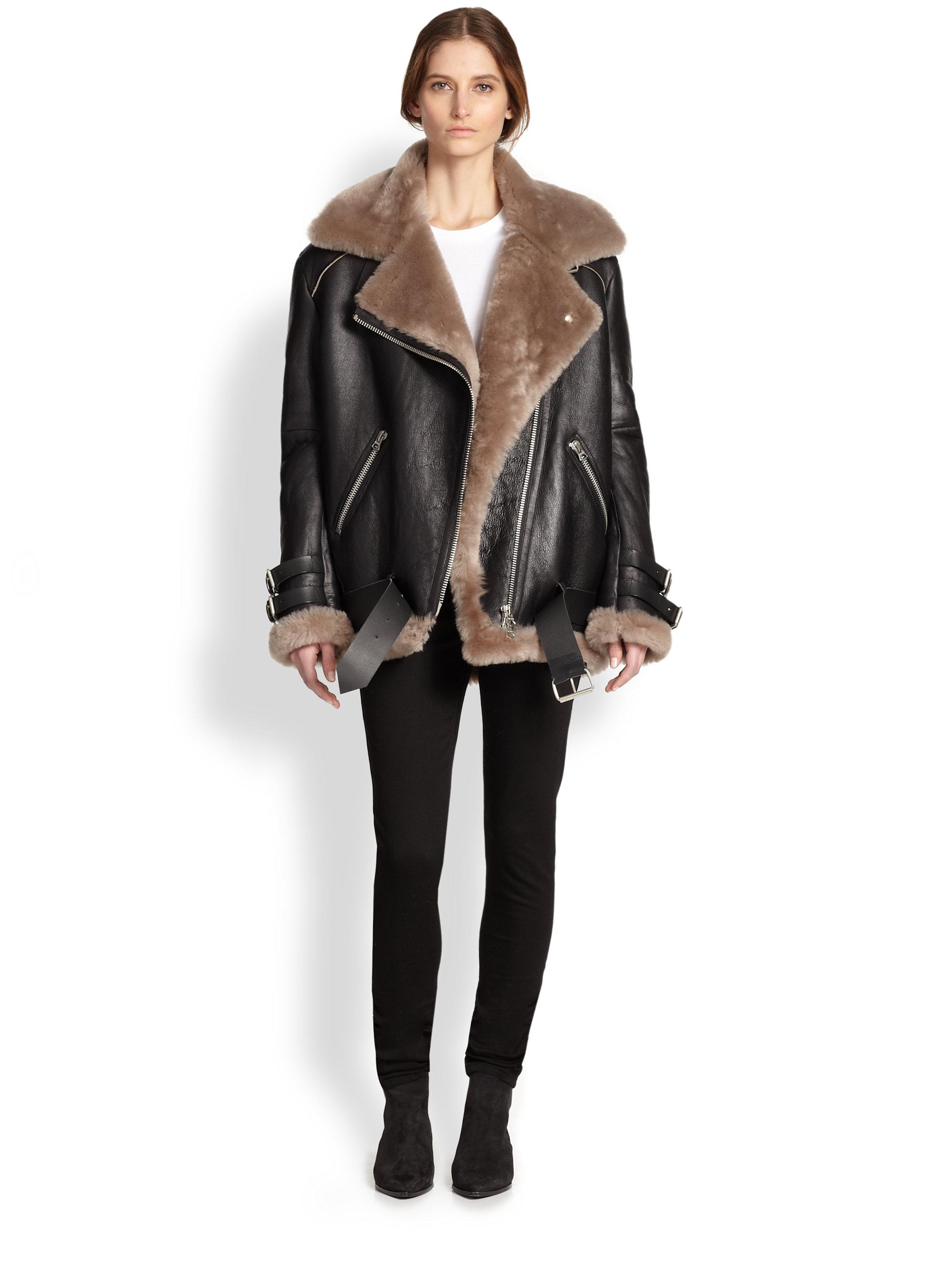 Acne studios Velocite Oversized Leather & Lamb Shearling Moto ...