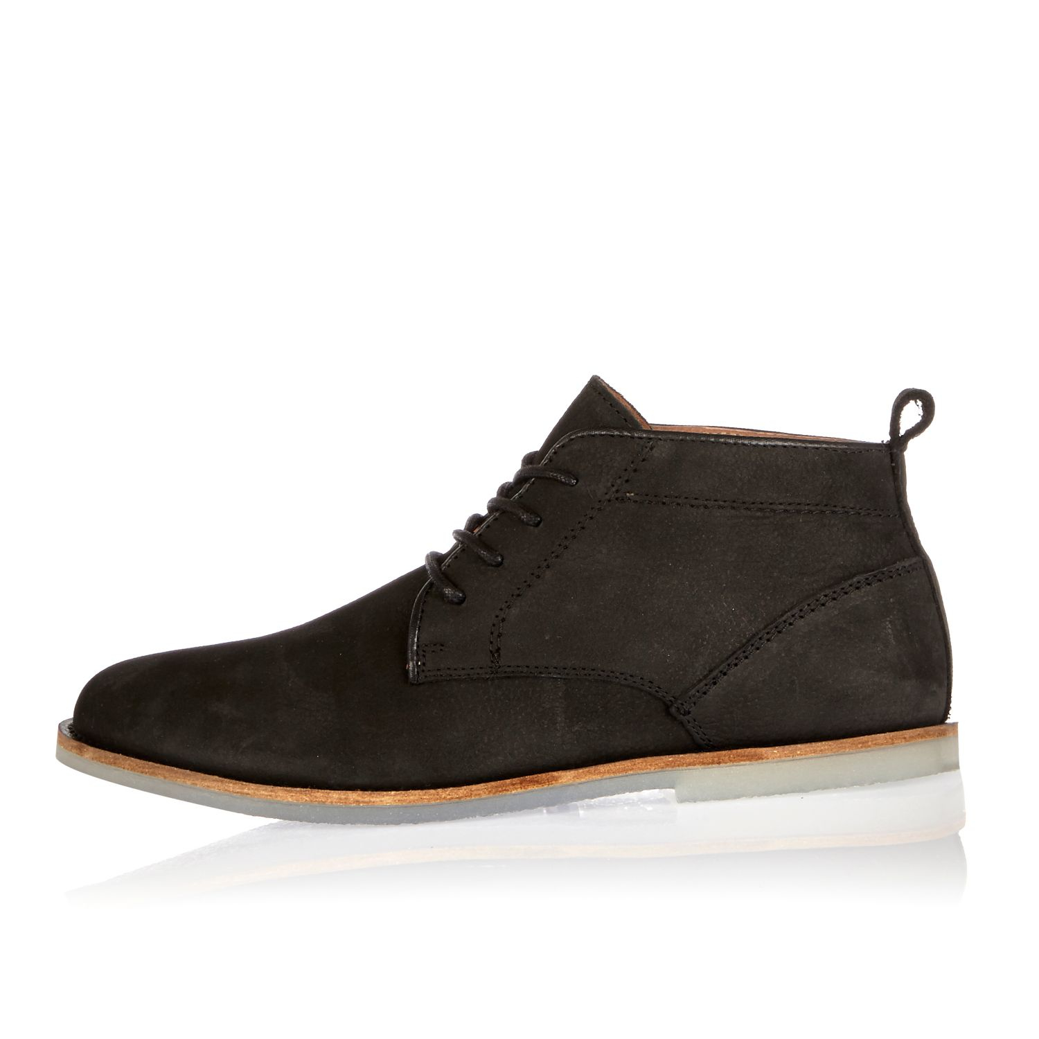 river island black nubuck leather lace up boots in black