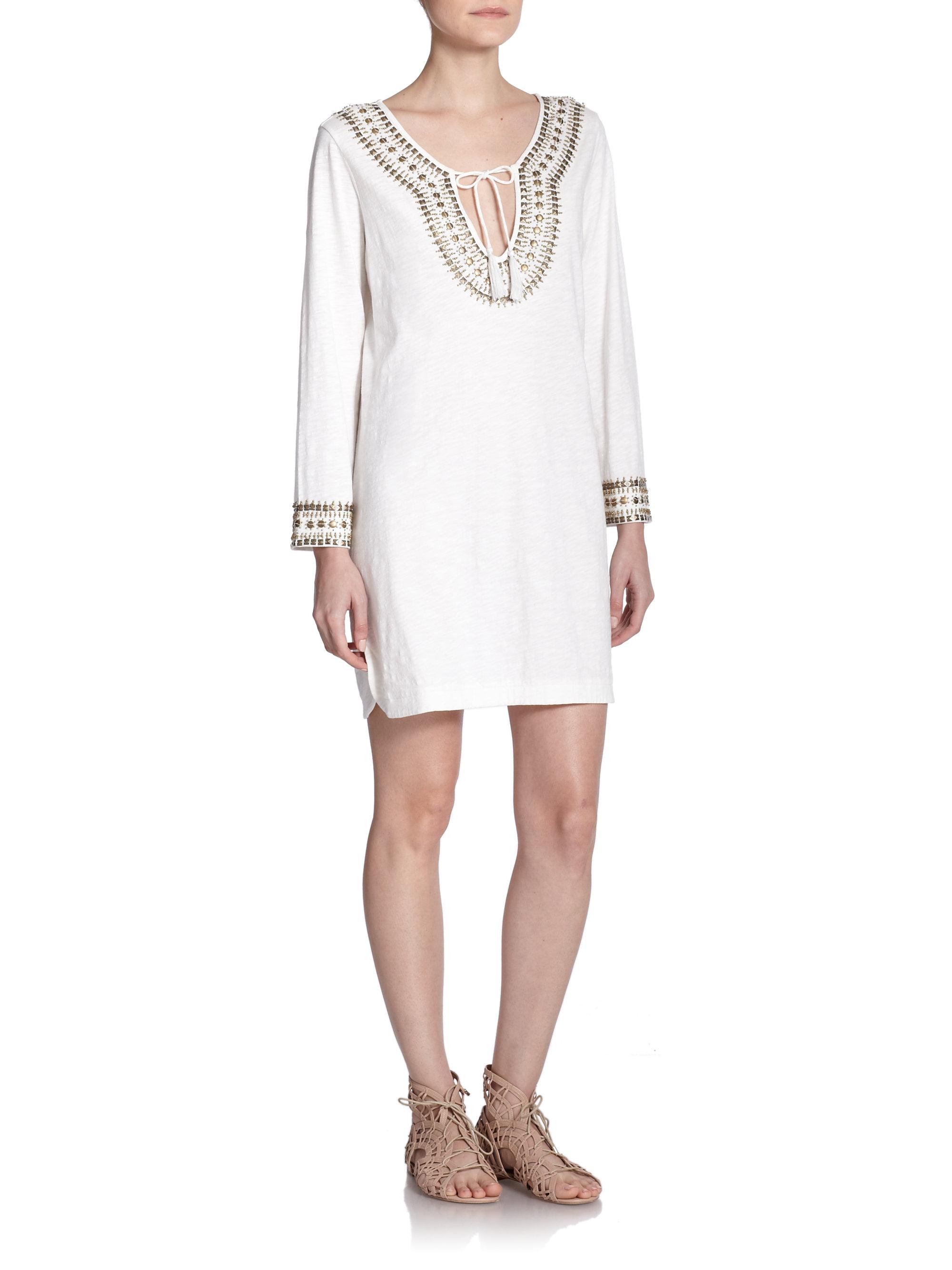 White beaded tunic dress