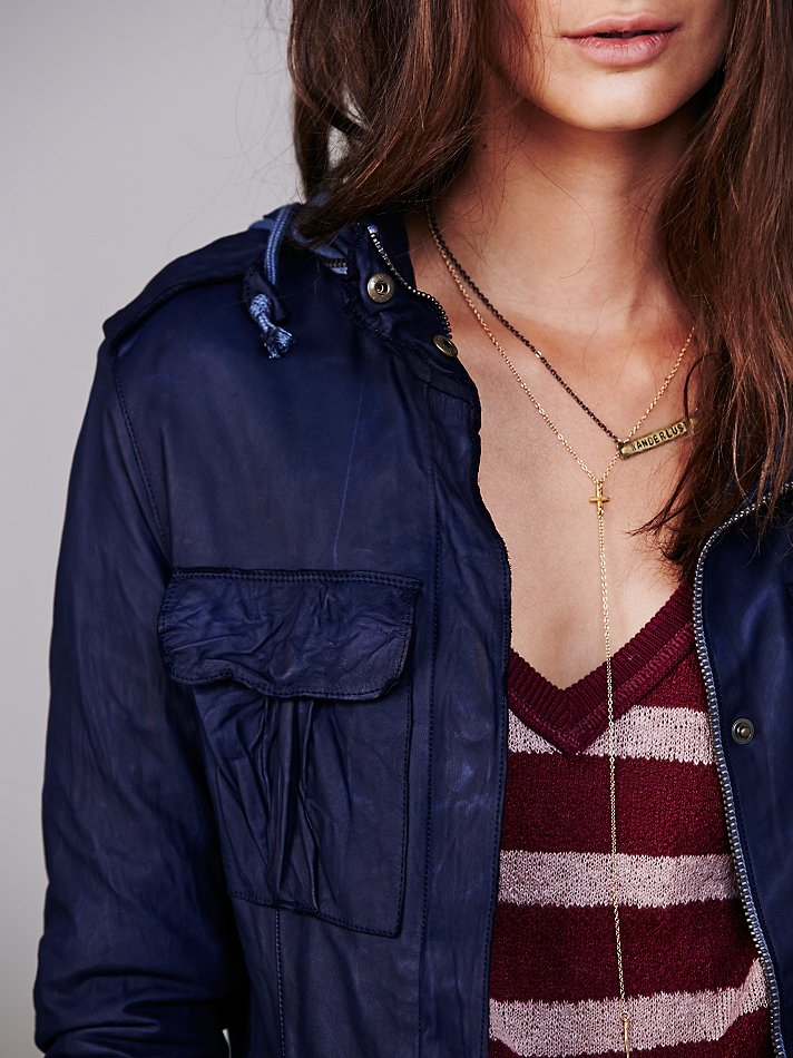 Free people Sisii Womens Military Leather Jacket in Blue   Lyst