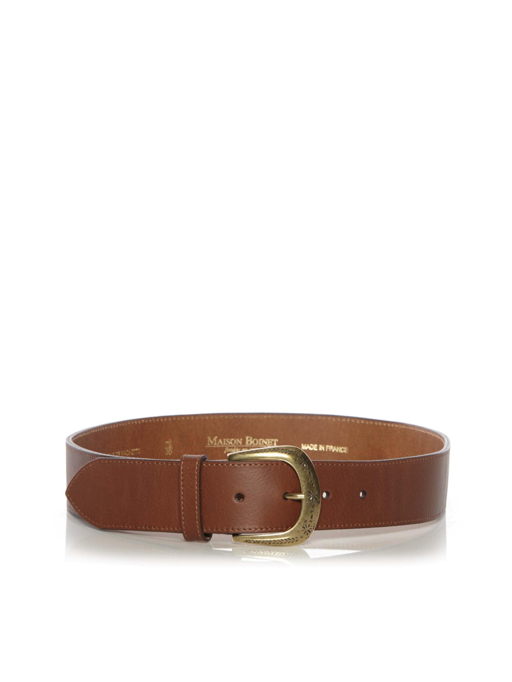 maison boinet wide brass buckle belt in brown for lyst