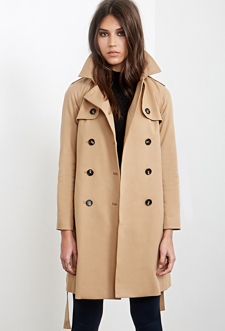 Forever 21 Longline Trench Coat In Natural Lyst