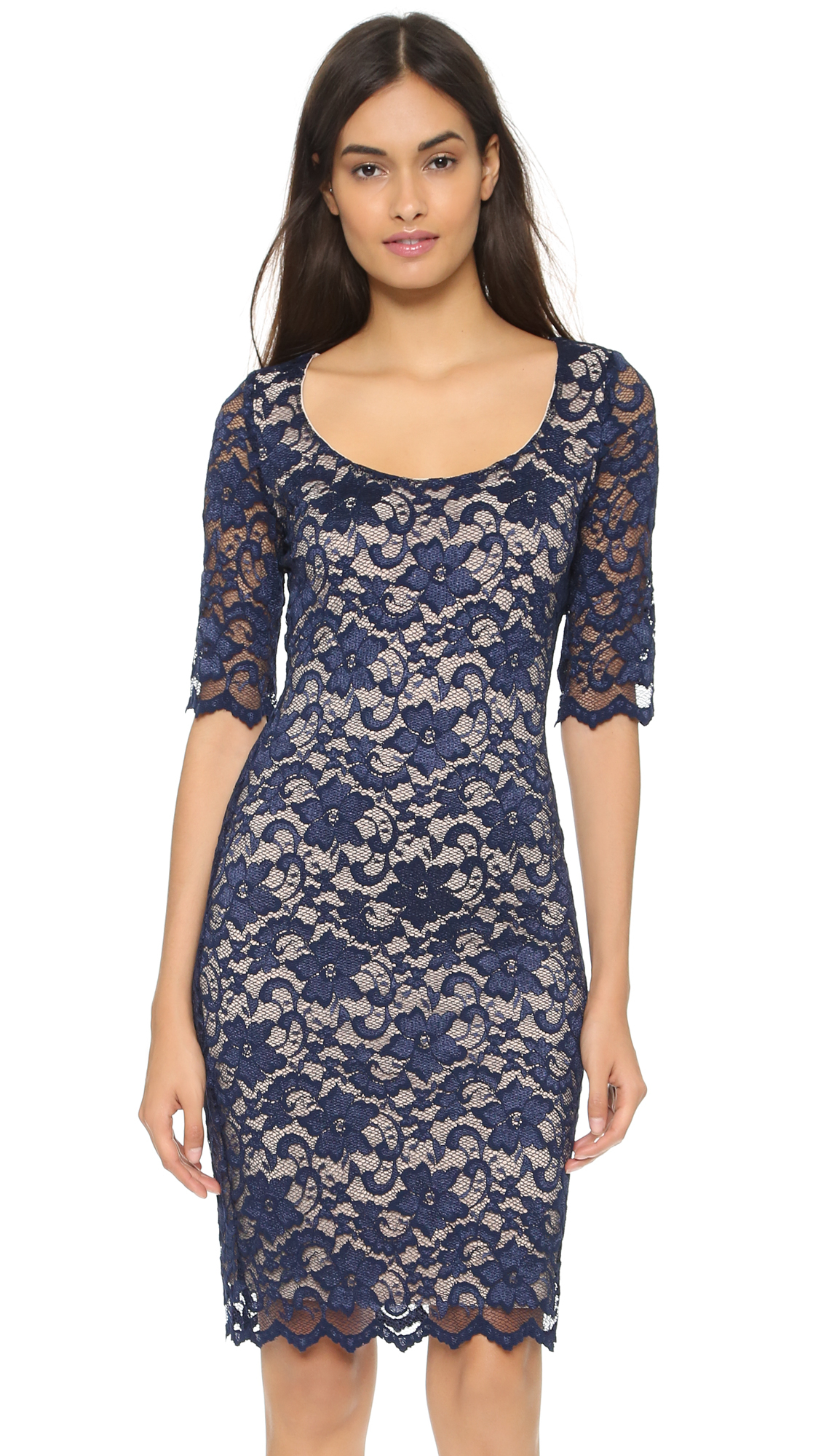 Badgley Mischka Belle Alexandra Dress - Navy in Blue - Lyst
