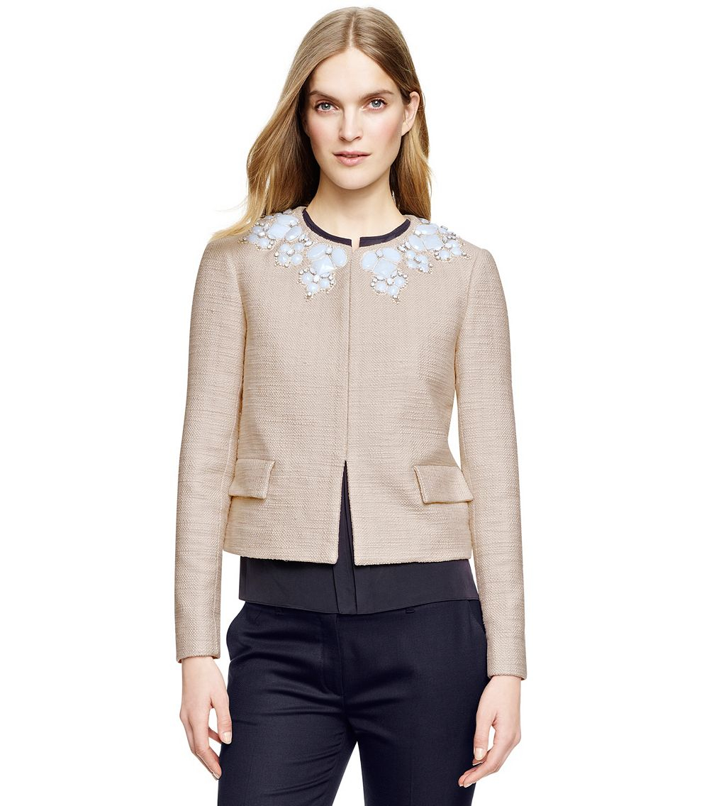 Tory burch elisa jacket in natural lyst for Tory burch fashion island