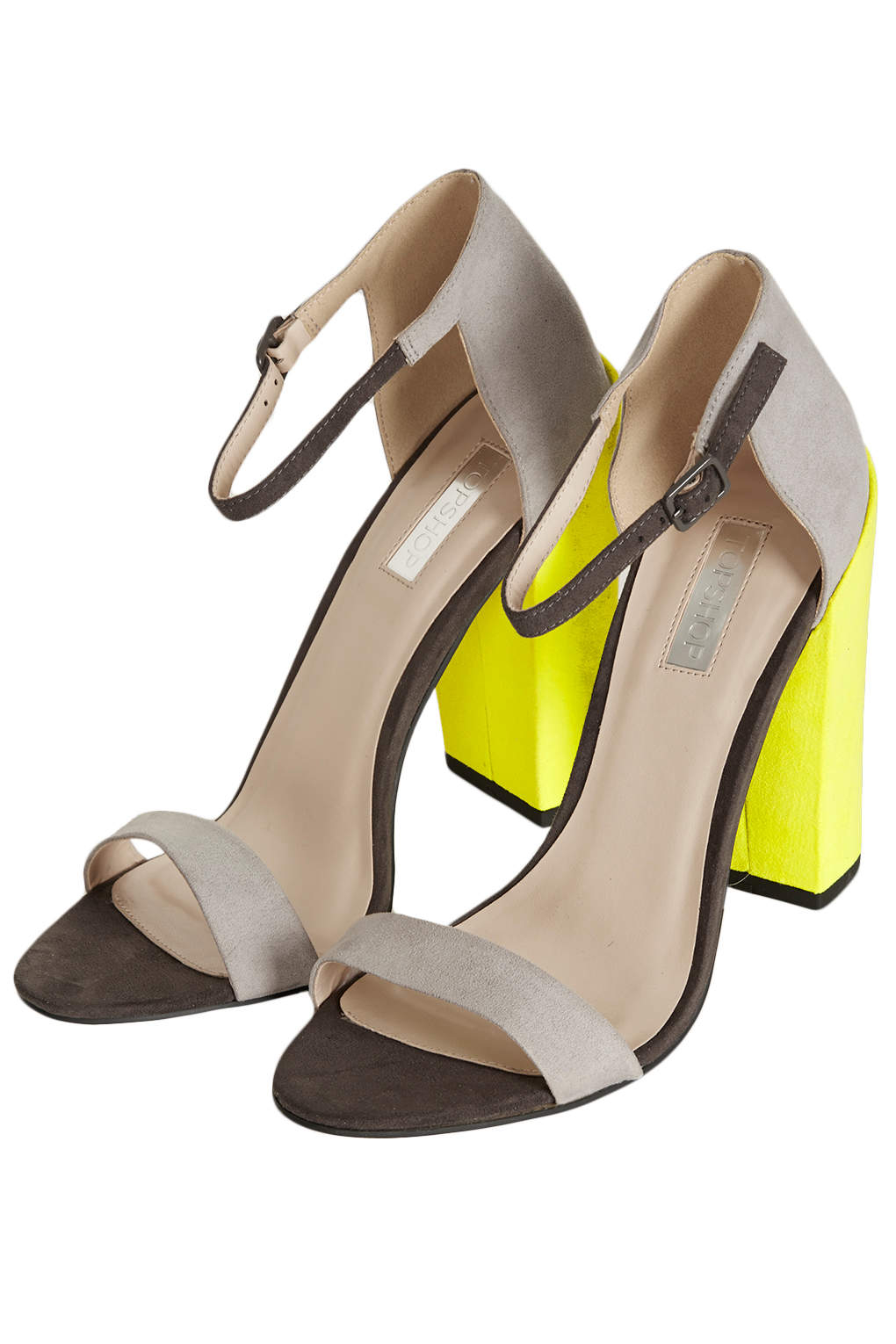 Lyst Topshop Ratchet Block Heel Sandals In Yellow