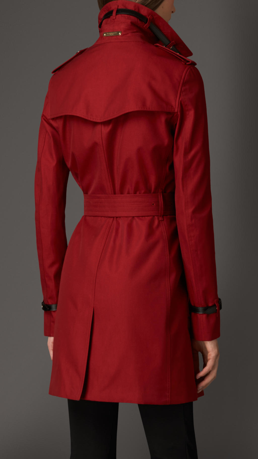 Lyst Burberry Leather Detail Cotton Gabardine Trench
