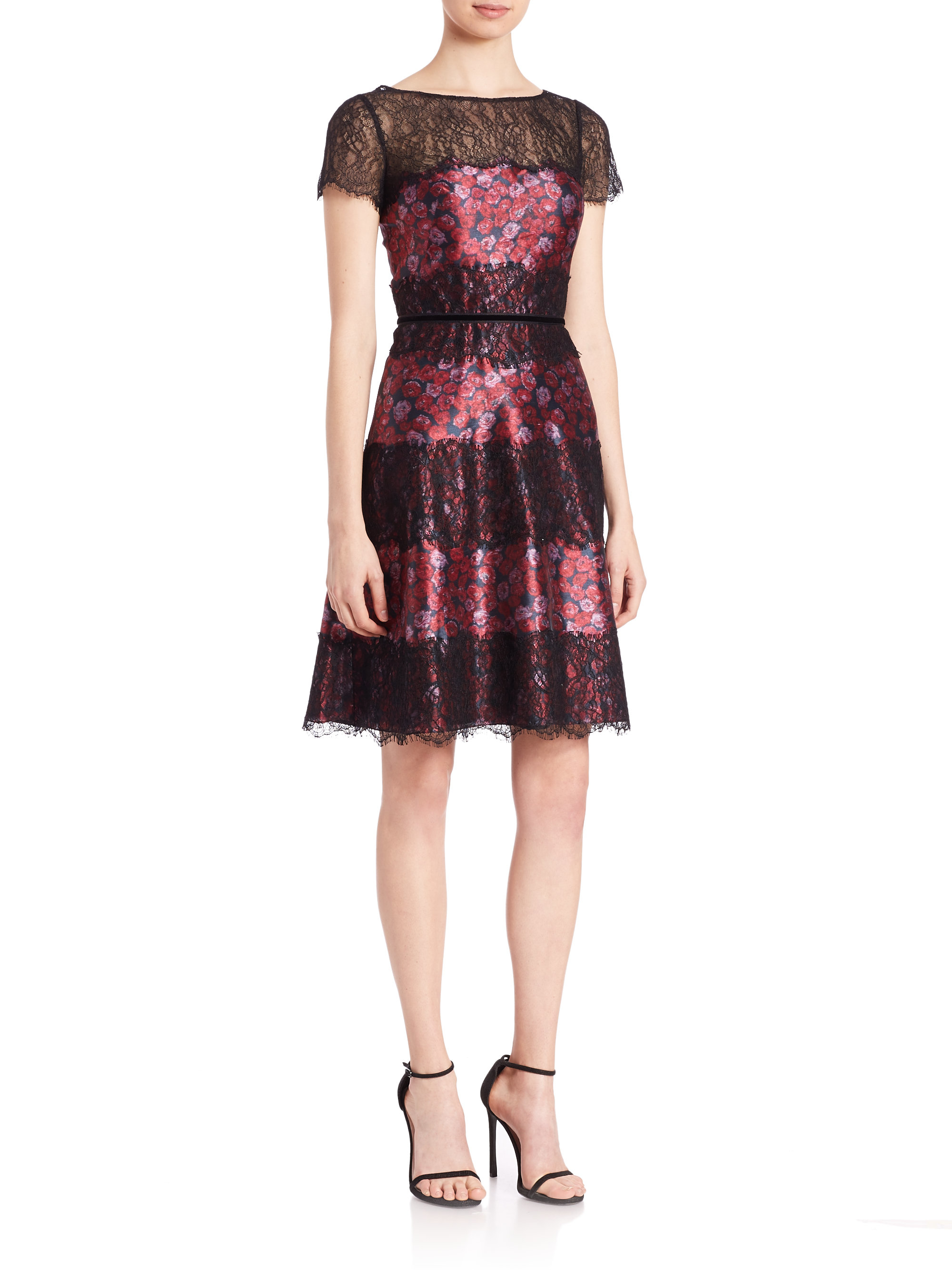 Lyst - Kay Unger Floral Shantung Lace Dress