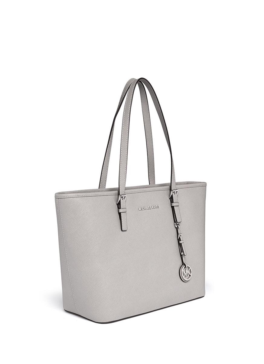 4bf50eea7e Michael Kors  jet Set Travel  Saffiano Leather Top Zip Tote in Gray ...