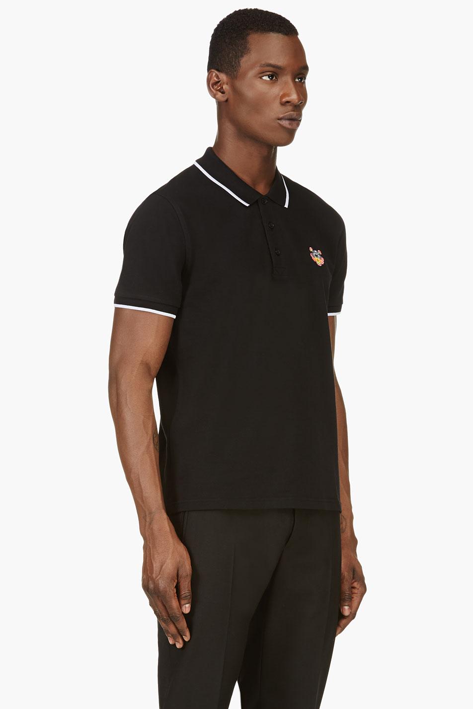 2f9041c6 Lyst - KENZO Black Tiger Logo Short Sleeve Polo Shirt in Black for Men