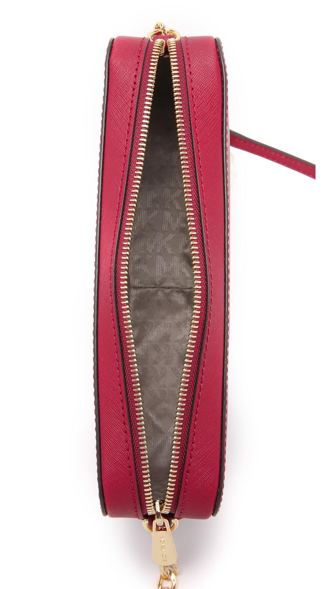 5ef17f2316431 Lyst - MICHAEL Michael Kors Jet Set Large Cross Body Bag - Ballet in Red