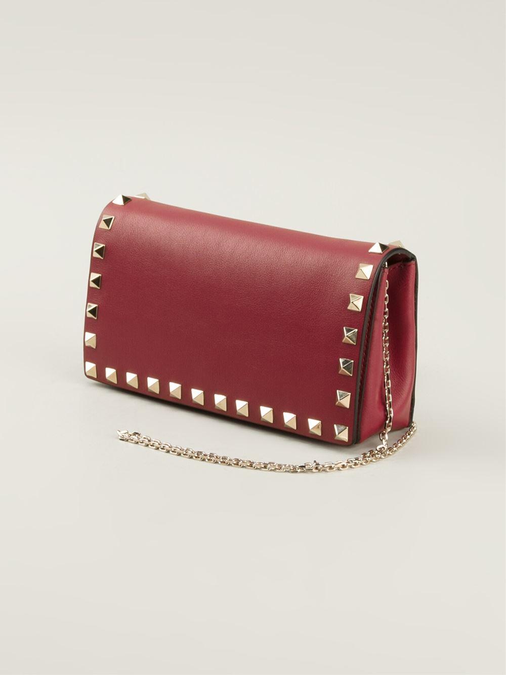 Valentino Mini Rockstud Chain Shoulder Bag In Red Lyst
