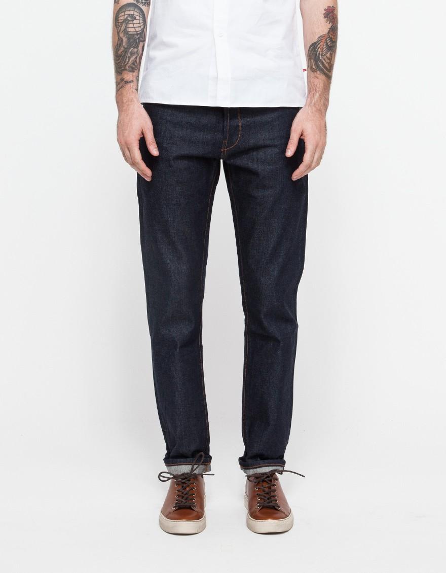 han kjobenhavn tapered fit jeans raw in blue for men lyst. Black Bedroom Furniture Sets. Home Design Ideas